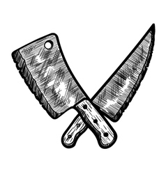 Meat Clever and Butcher Knife vector image