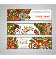 Set of colorful christmas banners vector