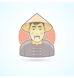Chinese man in traditional cloth icon vector