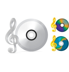 Compact disc with treble clef vector