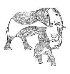 Mother elephant and baby black white doodle vector