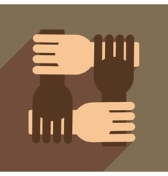 Flat web icon with long shadow support arms vector image