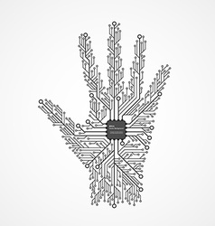 Abstract hand in an electronic circuit chip design vector