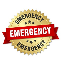 Emergency 3d gold badge with red ribbon vector