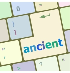 Keyboard with white enter button ancient word on vector