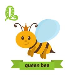 Queen bee Q letter Cute children animal alphabet vector image