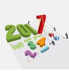 Human constructing new year 2017 vector