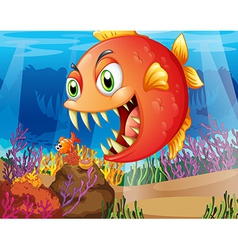 A predator and a prey under the sea vector image