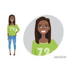 black african american woman in a casual cloth vector image vector image
