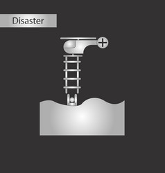 black and white style icon people in water vector image