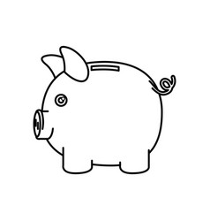 Black silhouette of moneybox in shape of pig vector