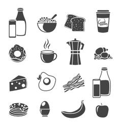 Breakfast flat sillhouette icon set vector