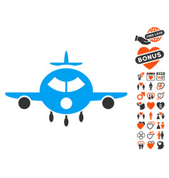 Cargo aircraft icon with dating bonus vector