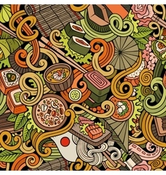 Cartoon hand-drawn doodles of japanese cuisine vector image vector image
