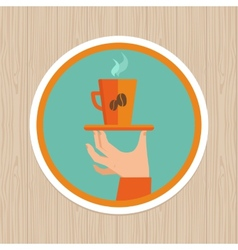 coffee mug on round emblem vector image vector image