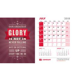Desk calendar template for 2018 year july design vector