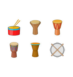 Drums icon set cartoon style vector