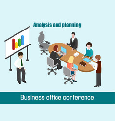 flat 3d isometric business conference concept vector image