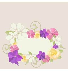 Garden flowers ornate frame background vector image