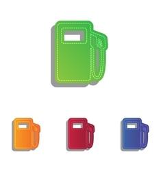 Gas pump sign colorfull applique icons set vector