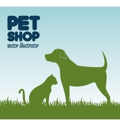 gree silhouette dog cat and grass pet shop icon vector image vector image