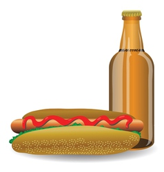 Hot dog and bottle of beer vector