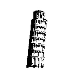 leaning tower of pisa italy black 8 bit vector image