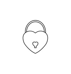 Lock heart shaped line icon love sign valentines vector
