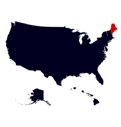 Maine State in the United States map vector image