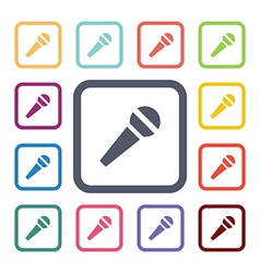 microfone flat icons set vector image vector image