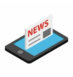 Mobile news isometric 3d icon vector image