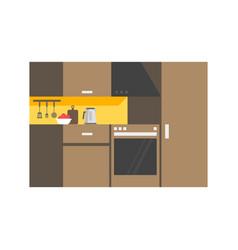 Modern kitchen interior design icon vector
