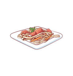 noodles with vegetable isolated icon vector image