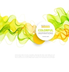 Orange and green wave line design vector