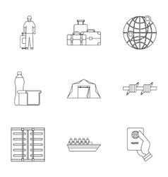 People refugees icons set outline style vector