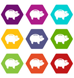 Piggy icon set color hexahedron vector