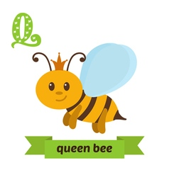 Queen bee Q letter Cute children animal alphabet vector image vector image