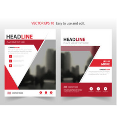 red abstract annual report brochure vector image