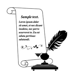 Scroll paper and inkwell vector
