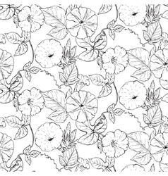 seamless pattern with hand drawn bindweed vector image vector image