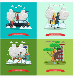 Set of weather concept posters in flat vector