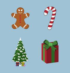 set of xmas icon cartoon style christmas day vector image