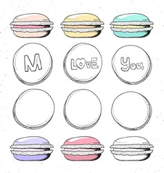 Set realistic sketch macaroon Sweets handmade for vector image vector image