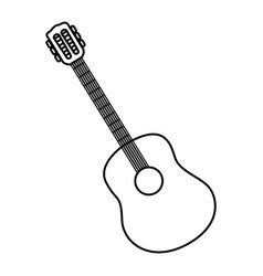 sketch contour acoustic guitar icon vector image