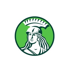 Spartan female warrior circle retro vector