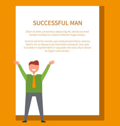 successful man poster happy male dressed formally vector image vector image