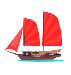 traditional wooden junk ship flat icon vector image vector image