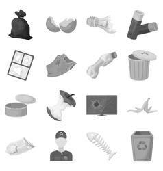 Trash and garbage set icons in monochrome style vector