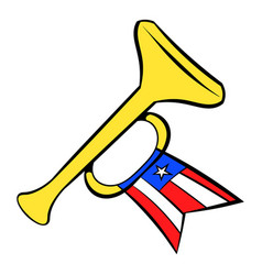 Trumpet with usa flag icon cartoon vector