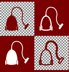Vacuum cleaner sign bordo and white icons vector